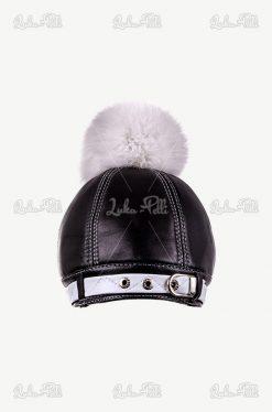 czapka skórzana z pomponem z lisa