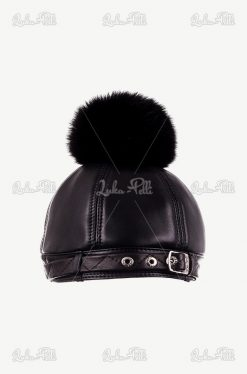 czapka futrzana lis pompon