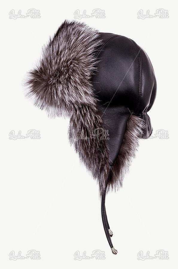 czapka pilotka damska lis srebrny