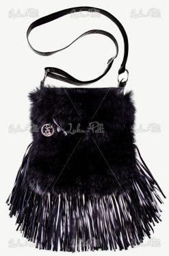 torebka futerkowa czarna
