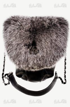 torebka skórzana futrzana lis czarna