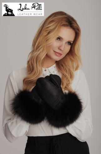 Rękawiczki skórzane Zara +  futerko czarne