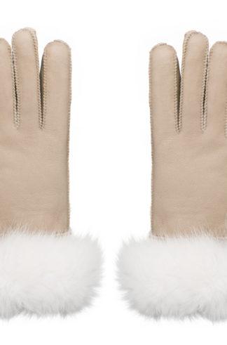 Rękawiczki skórzane PIĘCIOPALCZASTE beżowyjasny