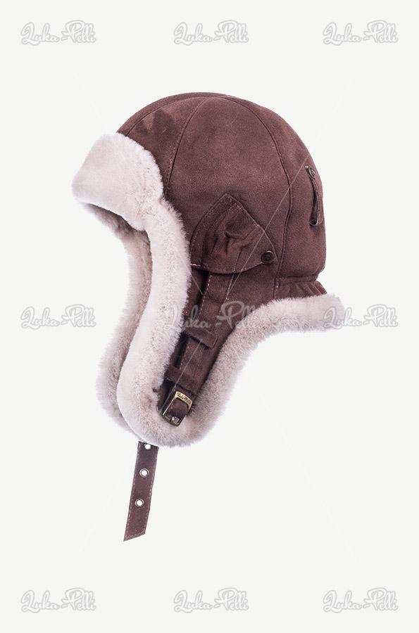 czapka pilotka skórzana zimowa męska