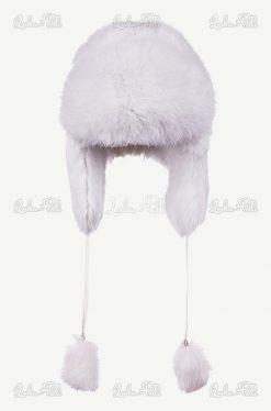 czapka futrzana biała