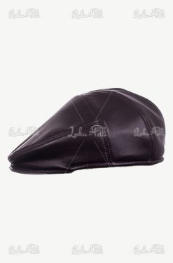 czapka męska skórzana czarna
