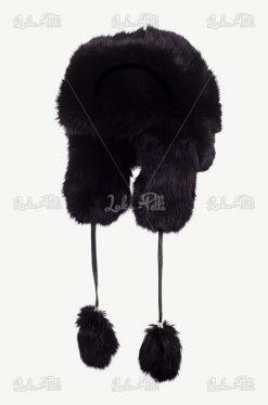 czapka futrzana czarna królik