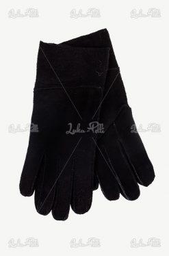 rękawiczki czarne kożuchowe pięciopalczaste