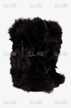 futrzane buty lis czarne