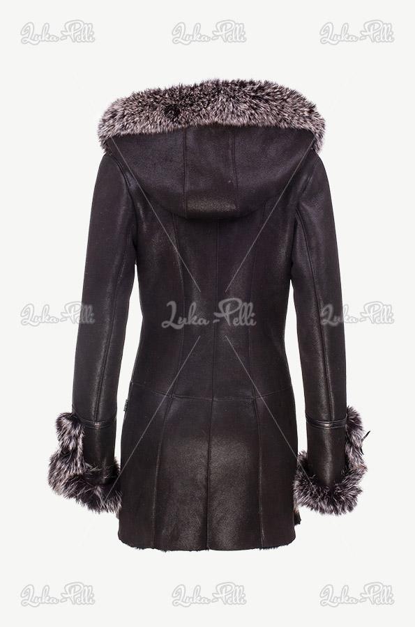 kożuch skórzany damski czarny z obszyciem lisa