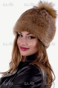 czapka futrzana zimowa pompon lis