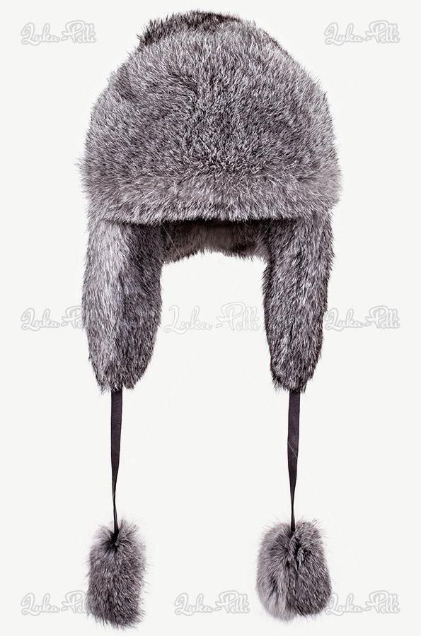 czapka futrzana zimowa szara