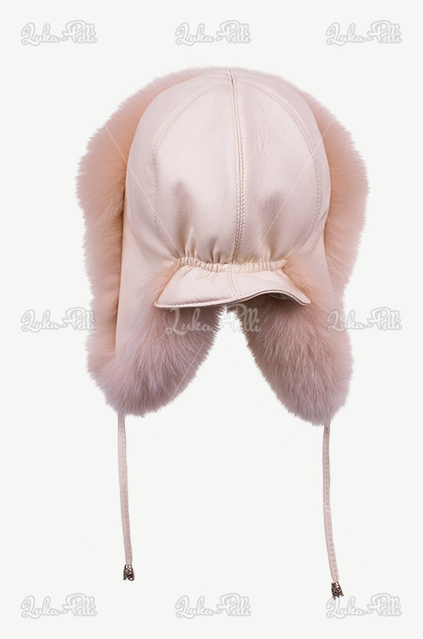 czapka zimowa damska z futrem lisa pilotka damska