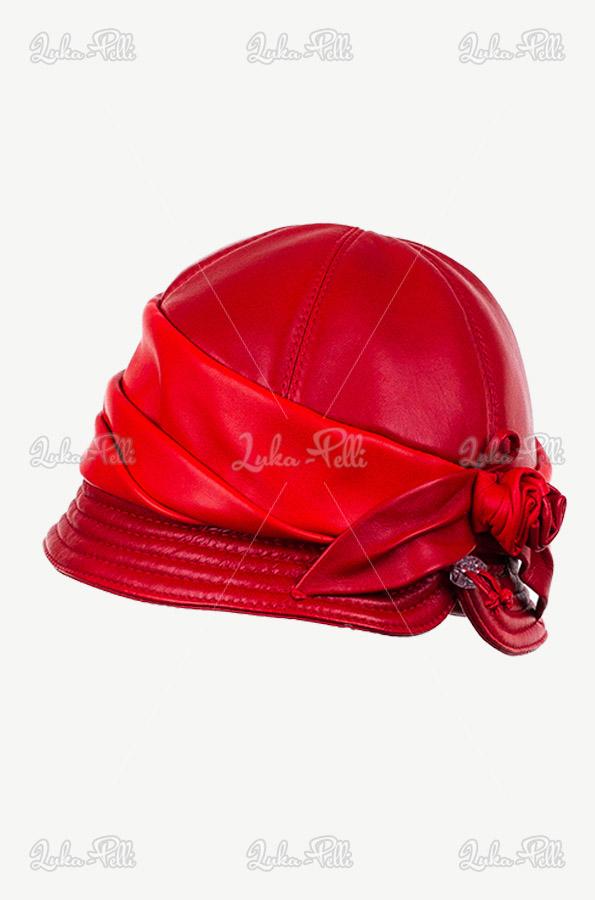kapelusz skórzany czerwony