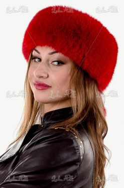 opaska futrzana damska czerwona