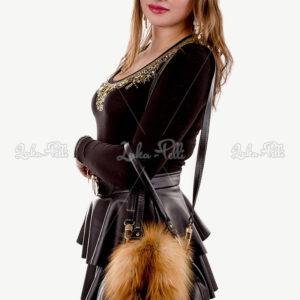 torebka skórzana damska z futrem lisa rudym