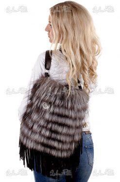 torebka futrzana lis srebrny