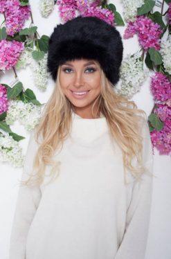 czapka damska zimowa toczek futrzany czarny