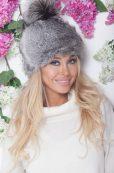 czapka zimowa damska futrzana z pomponem