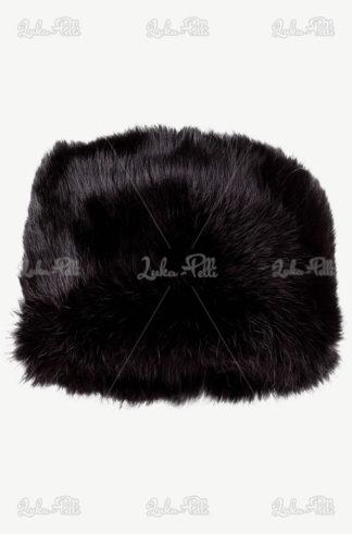 czapka skórzana czarny toczek
