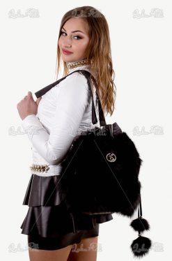 torebka futrzana worek czarno biały
