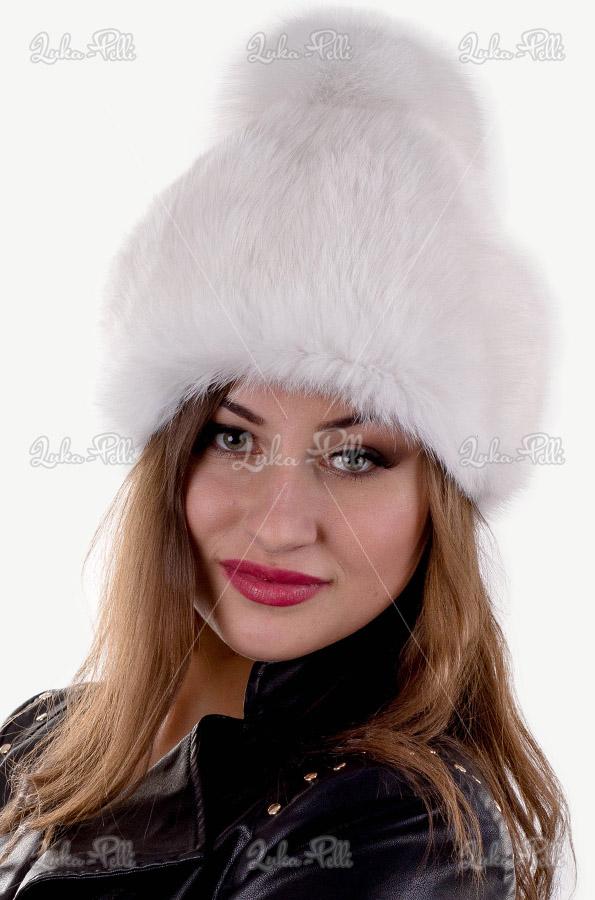 czapka damska futro królika pompon lis biała