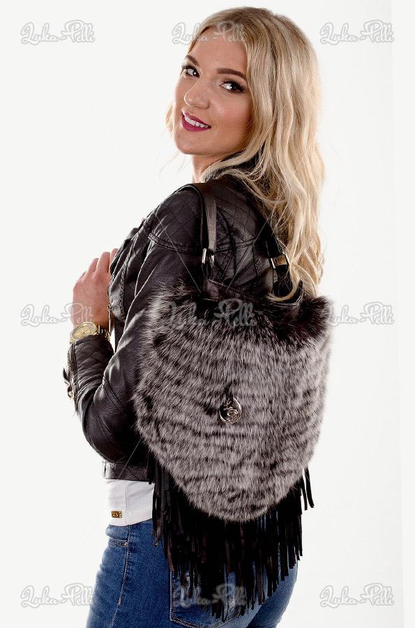 torebka damska skórzana lis torebka z frędzlami