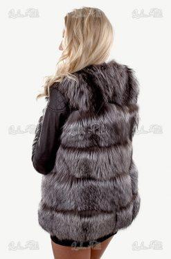kamizelka damska lis srebrna długa