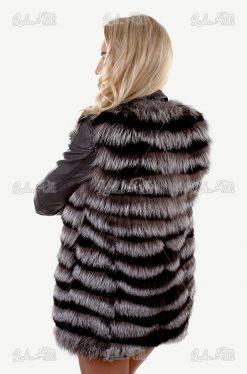 kamizelka damska srebrna długa z lisa