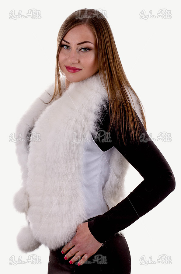 kamizelka z lisa biała