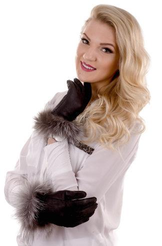 Rękawiczki skórzane pięciopalczaste czarne +srebro