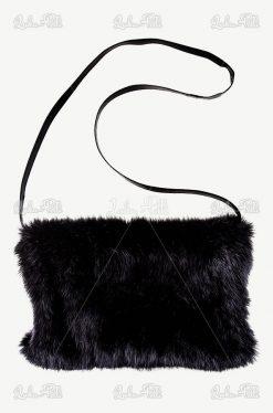 mufko torebka z futerkiem naturalnym czarnym