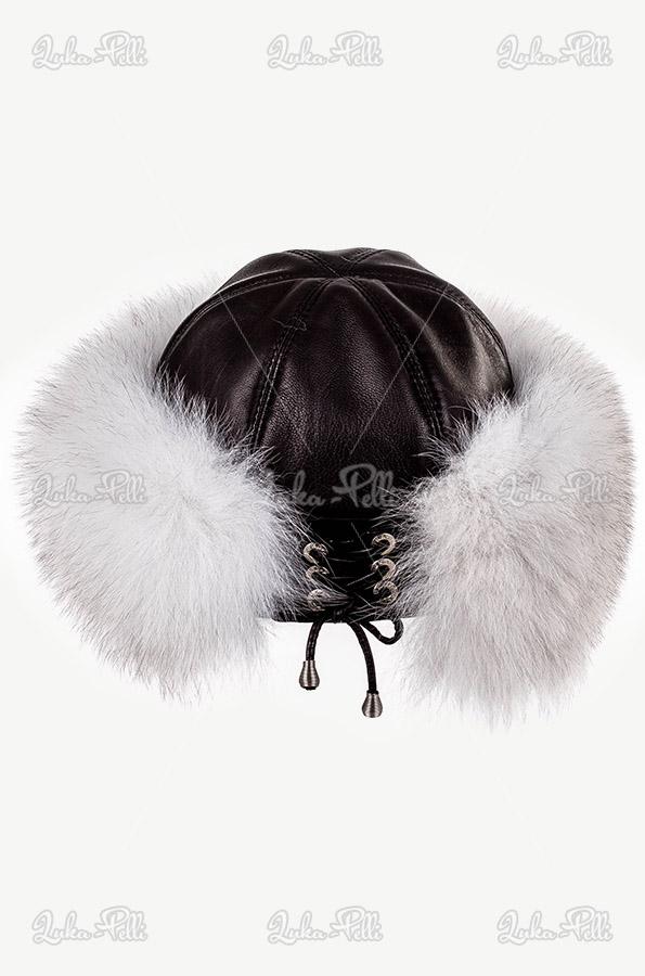 czapka skórzana z obszyciem futrzanym toczek damski