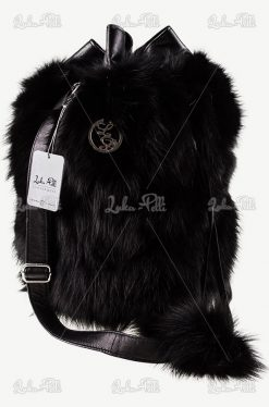torebka skórzana lis naturalny torebka worek czarna