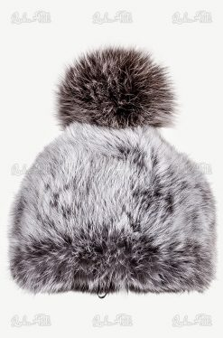 czapka damska futro królika pompon lis