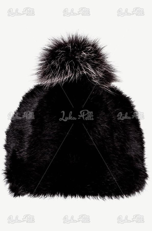 czapka damska futrzana z pomponem z lisa