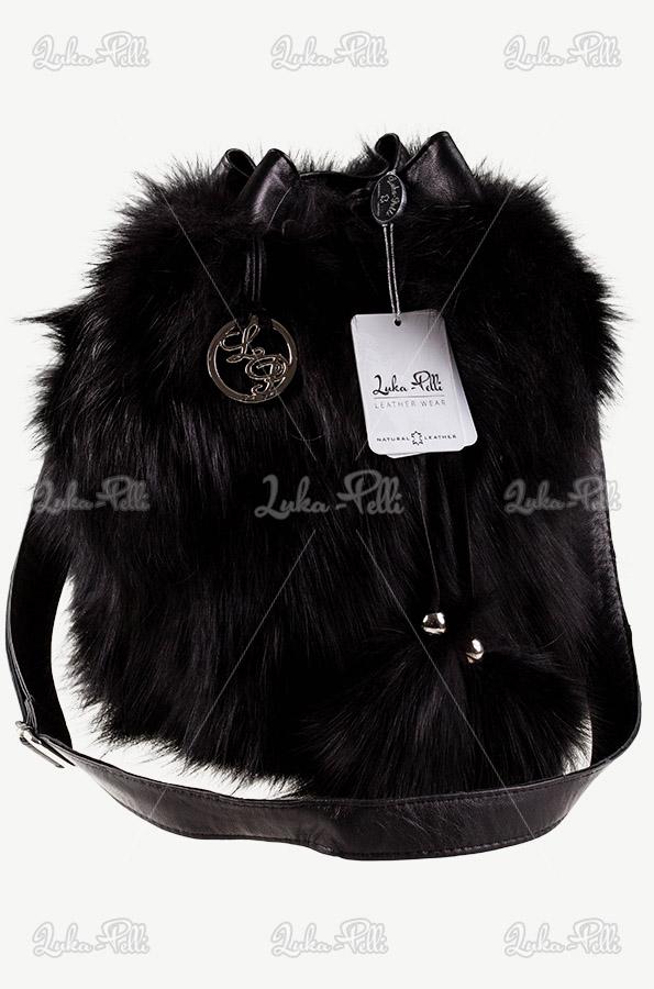 torebka czarna futrzana lis