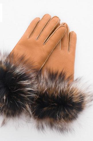 Rękawiczki skórzane PIĘCIOPALCZASTE rude