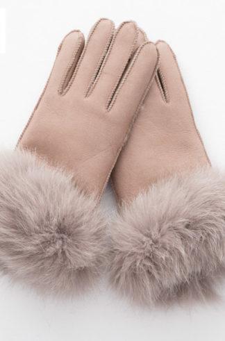 Rękawiczki skórzane PIĘCIOPALCZASTE beżowy
