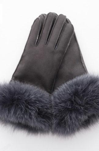 Rękawiczki skórzane PIĘCIOPALCZASTE stalowy