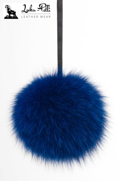 Niebieski pompon futrzany do czapki