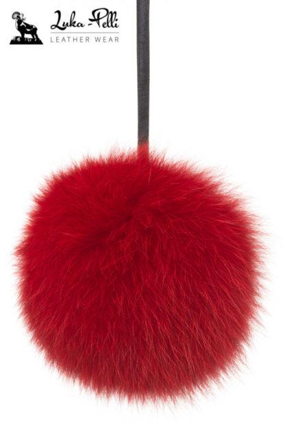 Czerwony pompon futrzany do czapki