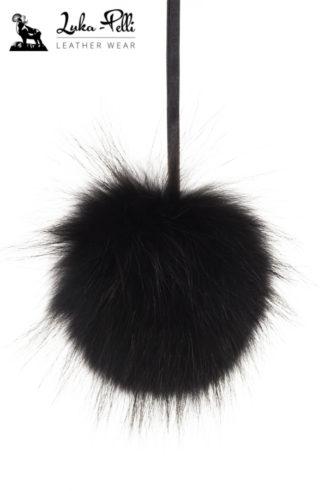 Czarny pompon futrzany do czapki