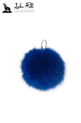 Brelok futrzany - KULKA w odcieniach niebieskiego