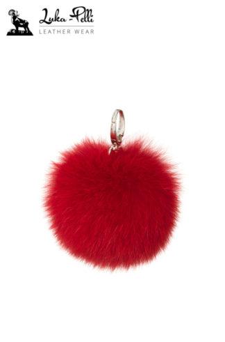 Brelok futrzany - KULKA w odcieniach czerwieni i różu