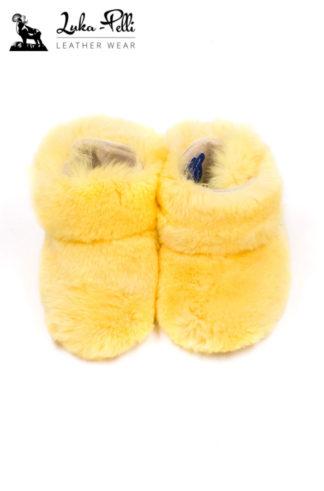 Buciki futrzane REX - żółte