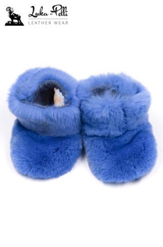 Buciki futrzane REX - niebieskie
