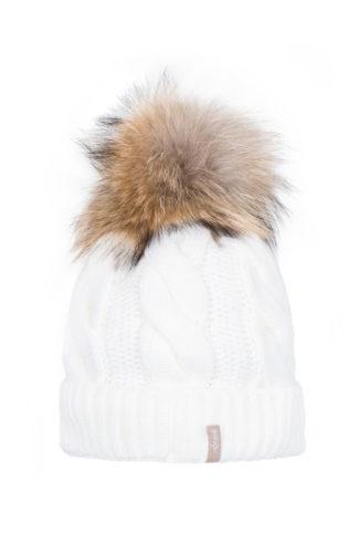 Warkocz - czapka z pomponem z naturalnego futra lisa