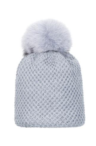 Ryżyk- czapka z pomponem z naturalnego futra lisa