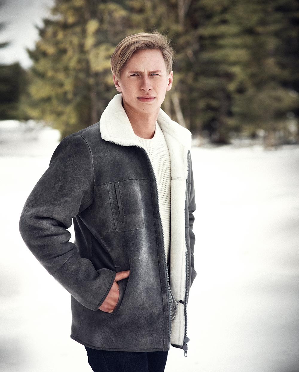 cf5a57167432d Men s sheepskin coat - steel - Luka Pelli - Online Store